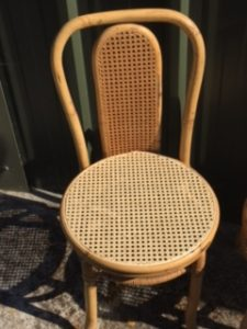 A wooden cane chair after repair